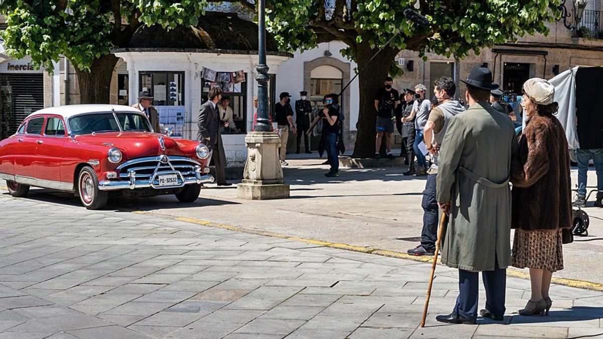Una de las escenas del rodaje grabadas por la mañana en el la Plaza de la Inmaculada.   | // D.P.