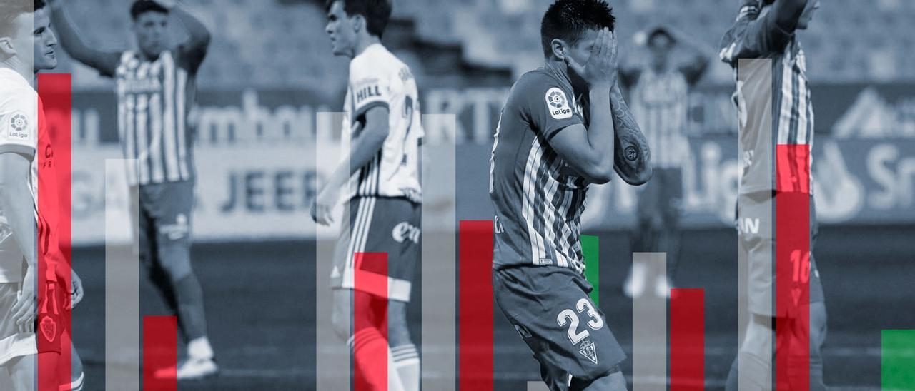 Djuka se lamenta de una ocasión marrada en el Zaragoza-Sporting