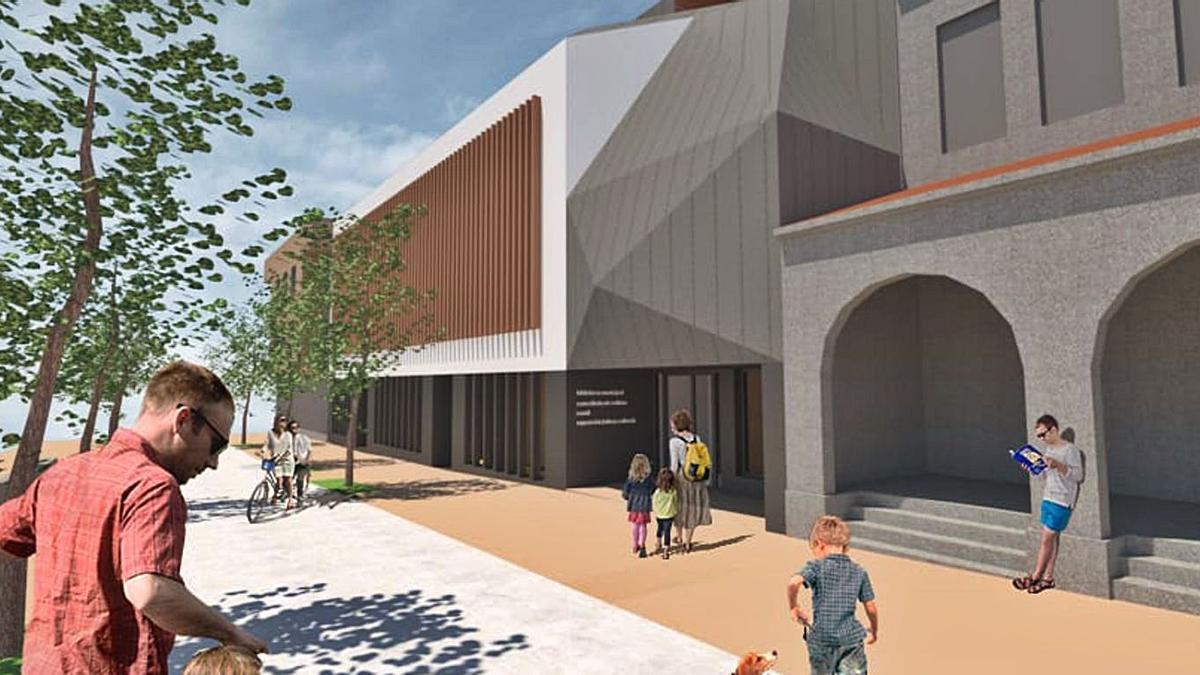 Infografía del edificio de la futura biblioteca de Tomiño, al lado del mercado municipal.     // D. P.