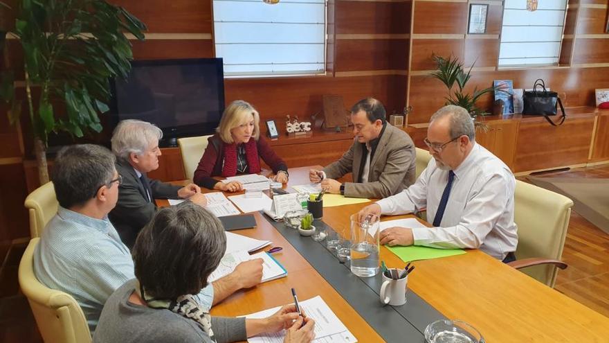 Reunión de Pilo y Requejo (a la derecha) con la consejera de Sanidad, Verónica Requejo, en Valladolid