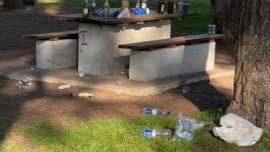 Denuncian que los botellones 'arrasan' el Pinar del Grau