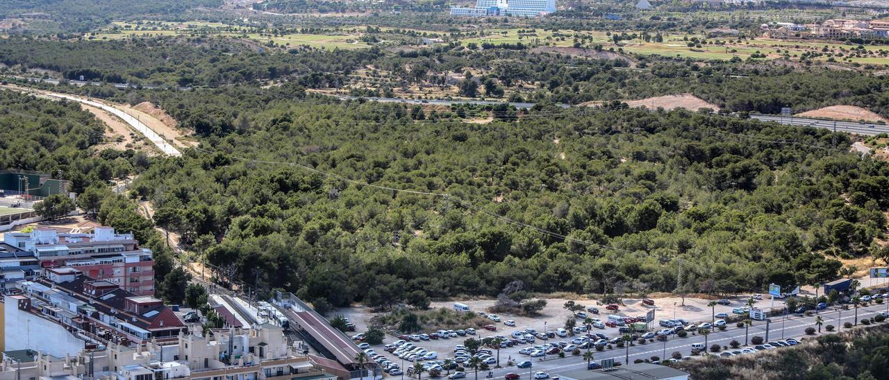 Vista aérea de los terrenos de El Moralet de Benidorm.