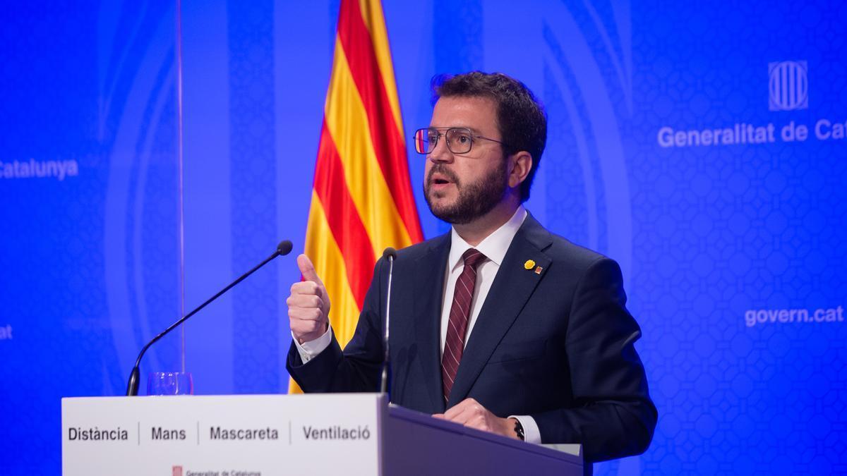 El presidente de la Generalitat, Pere Aragonès, en rueda de prensa