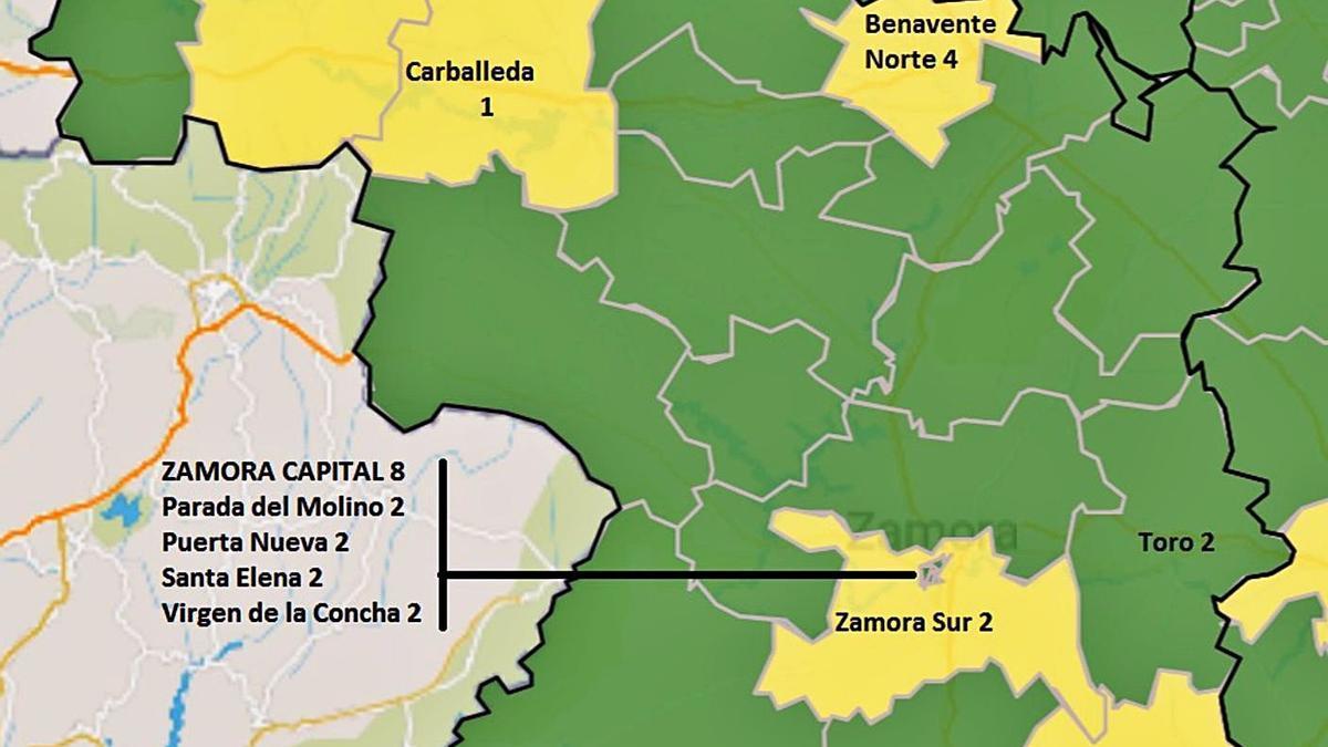 Mapa de situación de casos positivos en las zonas básicas de salud. | Fuente: JCyL y elaboración propia