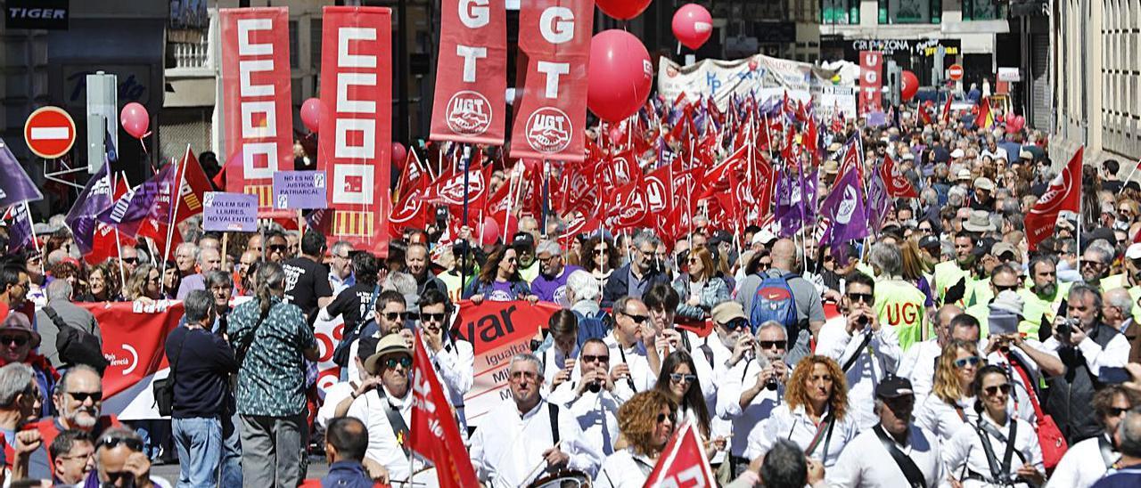 Imagen de archivo de una manifestación sindical del Primero de Mayo. | FERNANDO BUSTAMANTE