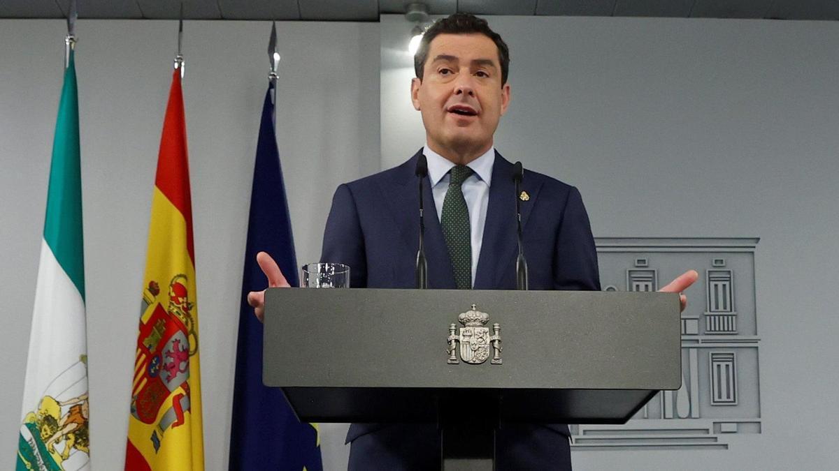 Rueda de prensa del presidente andaluz Juanma Moreno tras su reunión con Sánchez.