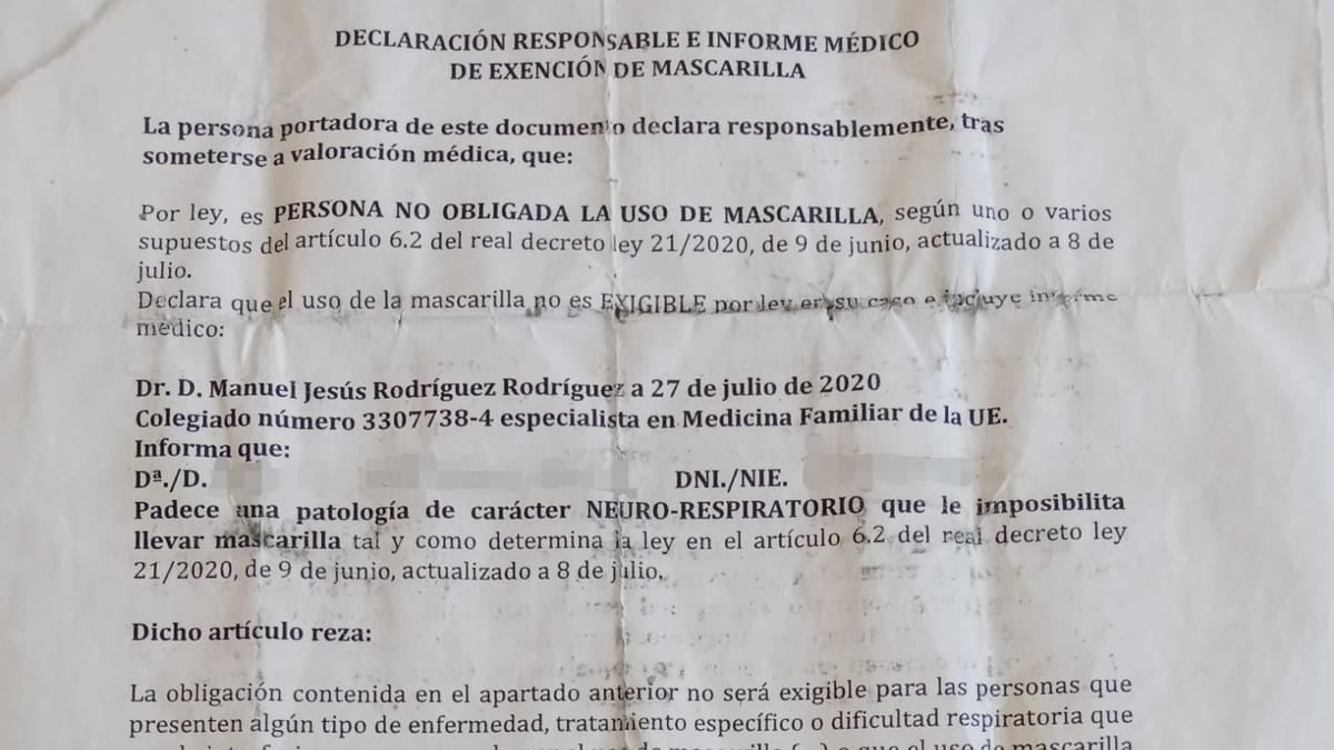 Imagen del documento falso.