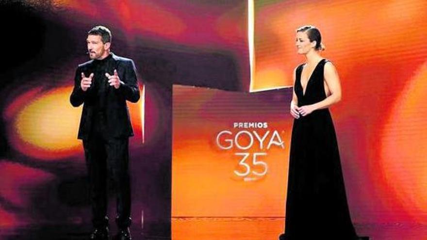 Antonio Banderas y María Casado, durante la última gala de los Goya.
