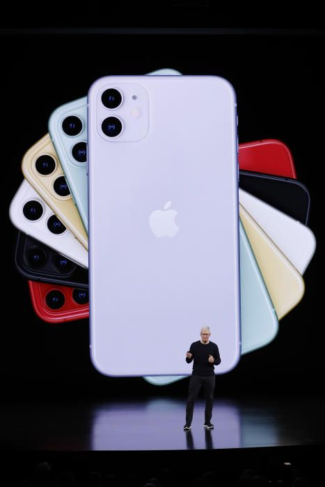 CEO Tim Cook presents the new iPhone 11 at an ...