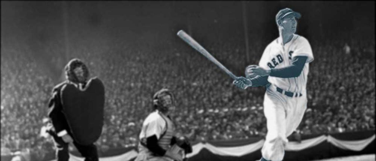 Ted Williams, después de conectar un hit.