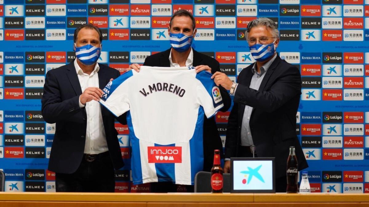 Moreno en la rueda de prensa de su presentación.