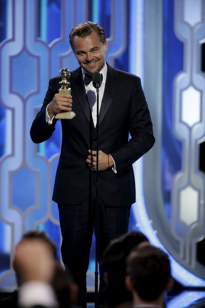 "Handout photo of Leonardo DiCaprio holding the Best Actor, Motion Picture, Drama, award for ""The Revenant"" at the 73rd Golden Globe Awards in Beverly Hills"