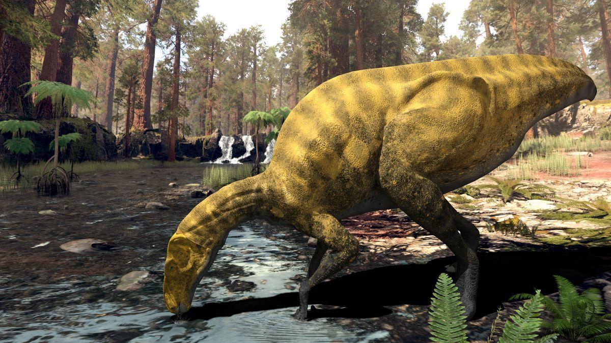 Reconstrucción artística de la nueva especie de dinosaurio hallado en Portell de la Morella.