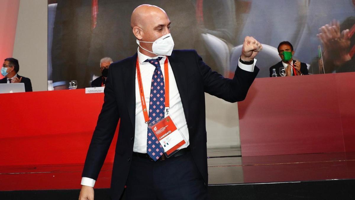 Rubiales, tras su reelección como presidente de la Federación Española de Fútbol.