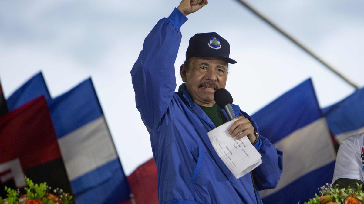 Daniel Ortega, durante una marcha sandinista en 2019