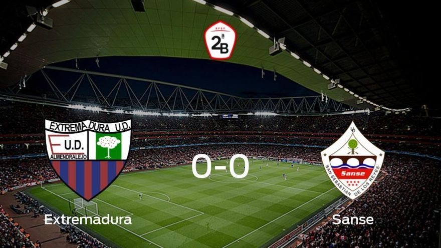 El Extremadura UD y el Sanse no encuentran el gol y se reparten los puntos (0-0)