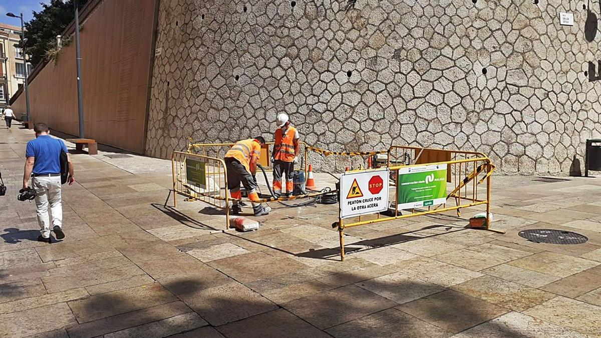 Operarios actúan de urgencia en Pintor Nogales