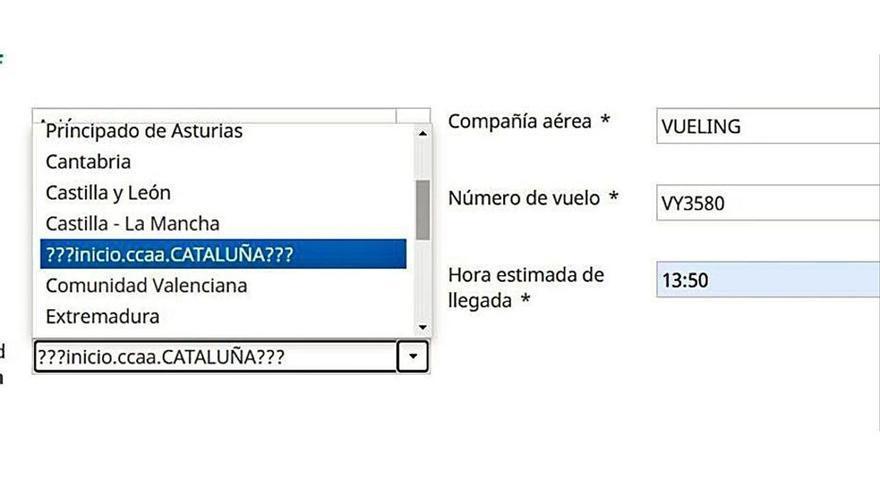 La web del Govern no permite hacer el formulario covid si se vuela desde Cataluña