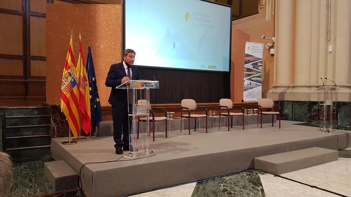 El consejero de Vertebración del Territorio, Movilidad y Vivienda del Gobierno de Aragón, José Luis Soro, esta mañana