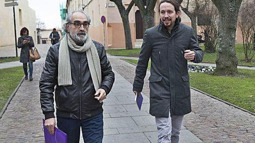 Braulio Llamero y Pablo Iglesias, en Zamora, en 2015.