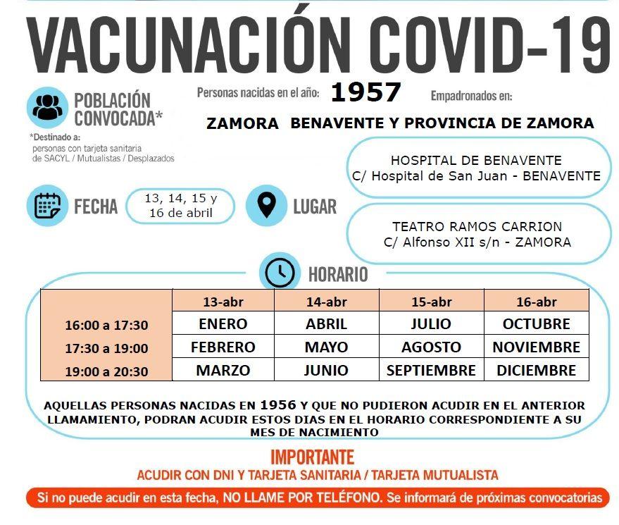 Vacunación de esta semana para los zamoranos de 64 años