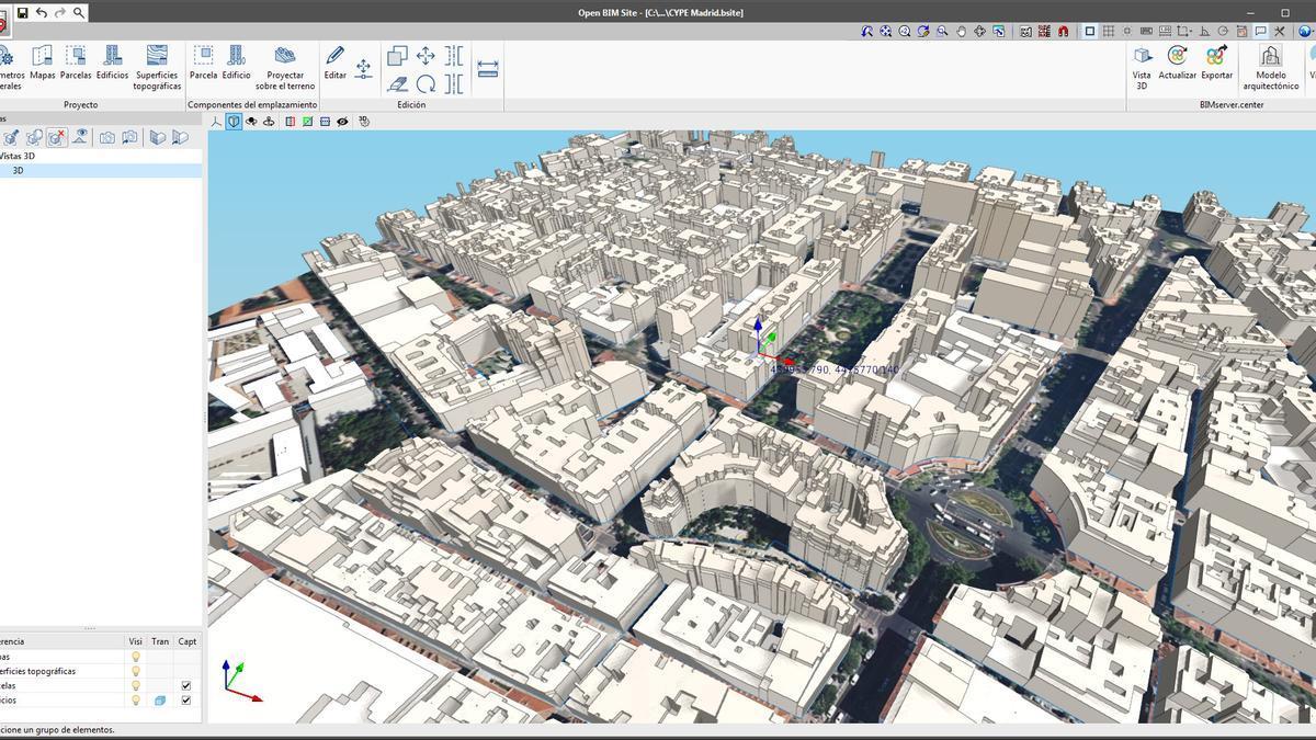 El programa Open BIM Site permite definir las condiciones iniciales del emplazamiento de un proyecto, administrar mapas reales, parcelas y edificios.