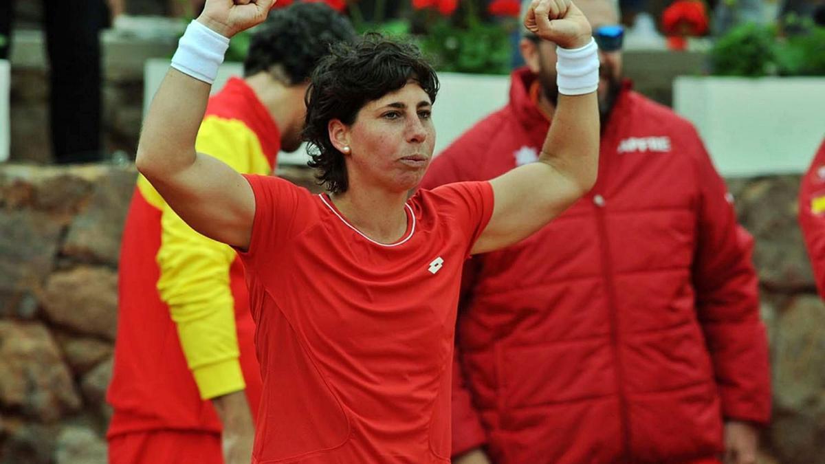 Carla Suárez celebra una de sus victorias en la eliminatoria de la Copa Federación que enfrentó a España y Japón. | RFET
