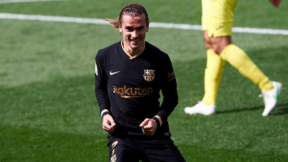 Antoine Griezmann celebra su primer gol ante el Villarreal.