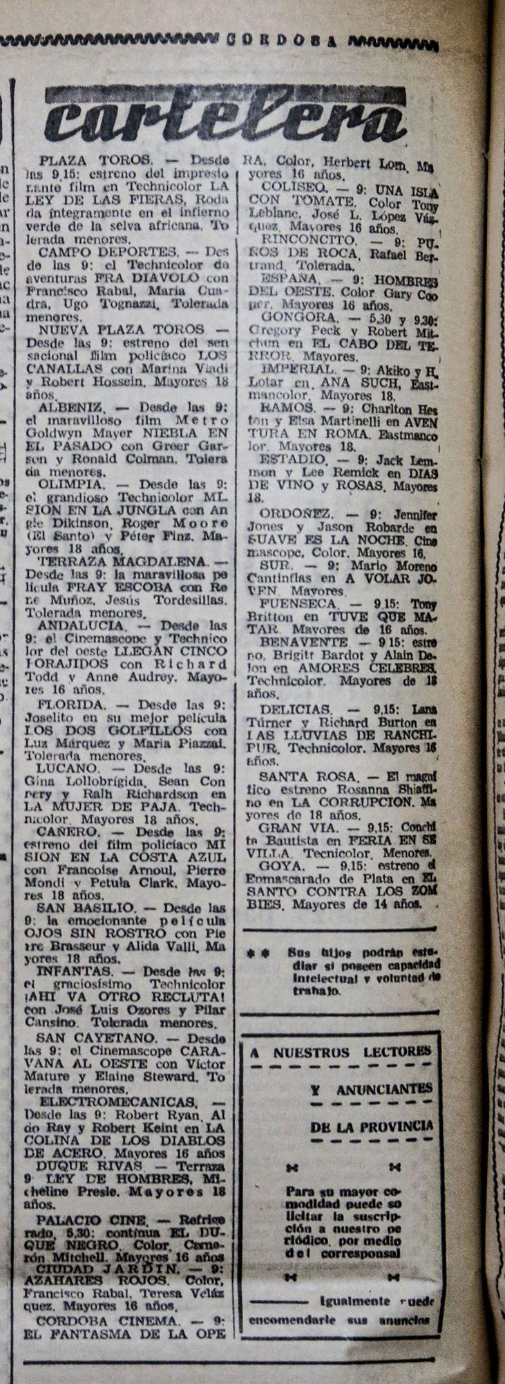 Cartelera de Córdoba en las páginas de Diario Córdoba en 1965.