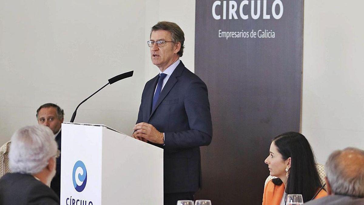 Alberto Núñez Feijóo, durante su intervención ayer en Vigo en el Círculo de Empresarios.