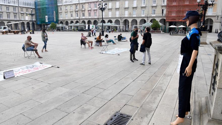 La Policía Local de A Coruña cumple tres meses de protestas en María Pita