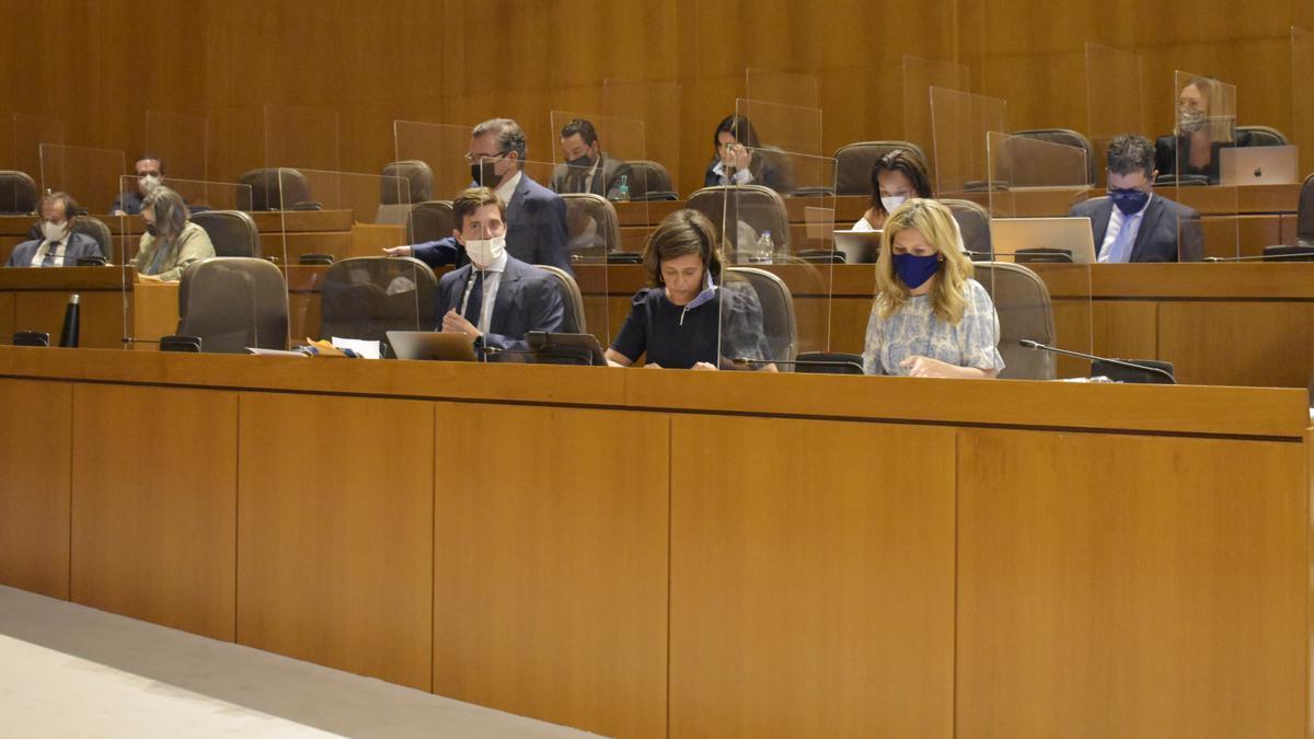 El líder del PP Aragón, Luis María Beamonte, y el presidente del PP de Zaragoza, Ramón Celma, conversan en el pleno.