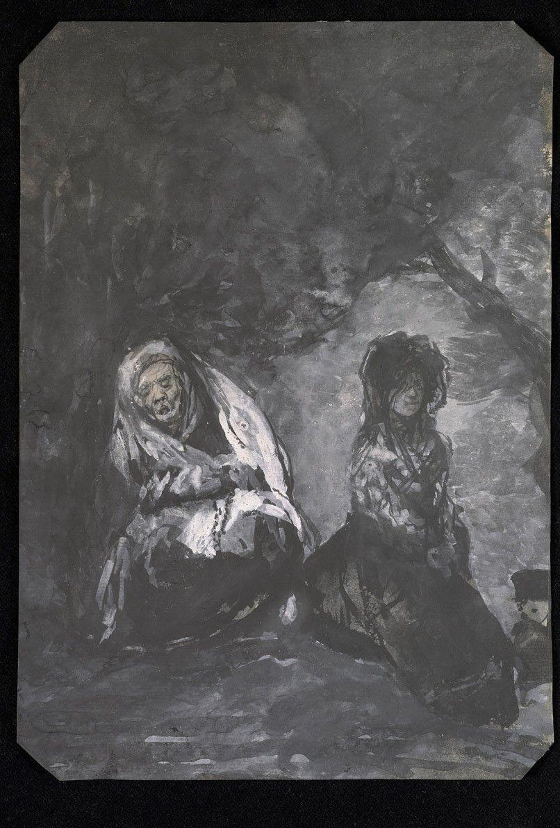 Francisco de Goya, Maja y Celestina en un paisaje al atardecer (década de 1820).jpg