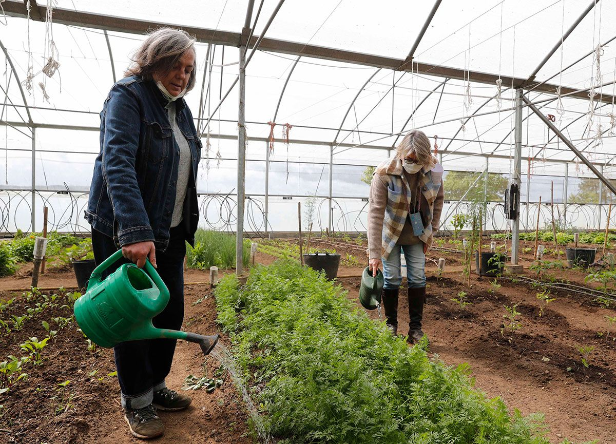 Isabel y Sandra regadera en mano en la finca de Alborada de agricultura ecológica