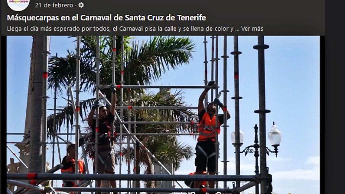 La empresa MasQueCarpas muestra en su Facebook el trabajo que hizo y que Fiestas encomendó a Decoo, de Lanzarote.