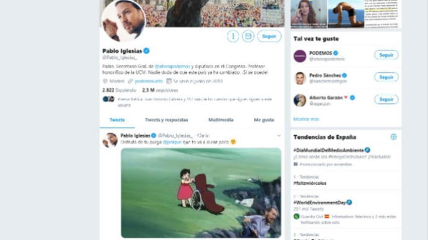 "Iglesias se burla en Twitter de la ""purga"" de Echenique"