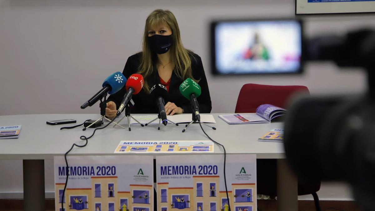 Lourdes Arroyo, durante la presentación del balance del IAM de 2020.
