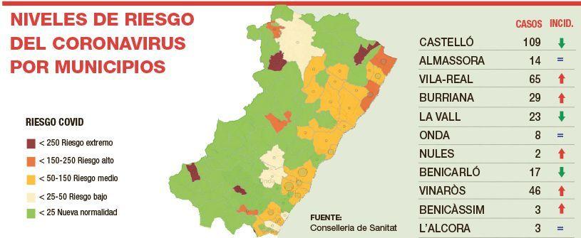 Contagios en los municipios de Castellón a fecha de 24 de septiembre.