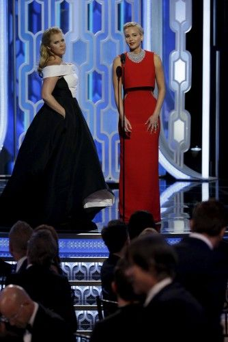 Handout of Schumer and Lawrence presenting at the 73rd Golden Globe Awards in Beverly Hills