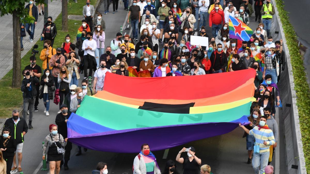 Manifestación en A Coruña en memoria de Samuel Luiz y contra la LGBTfobia