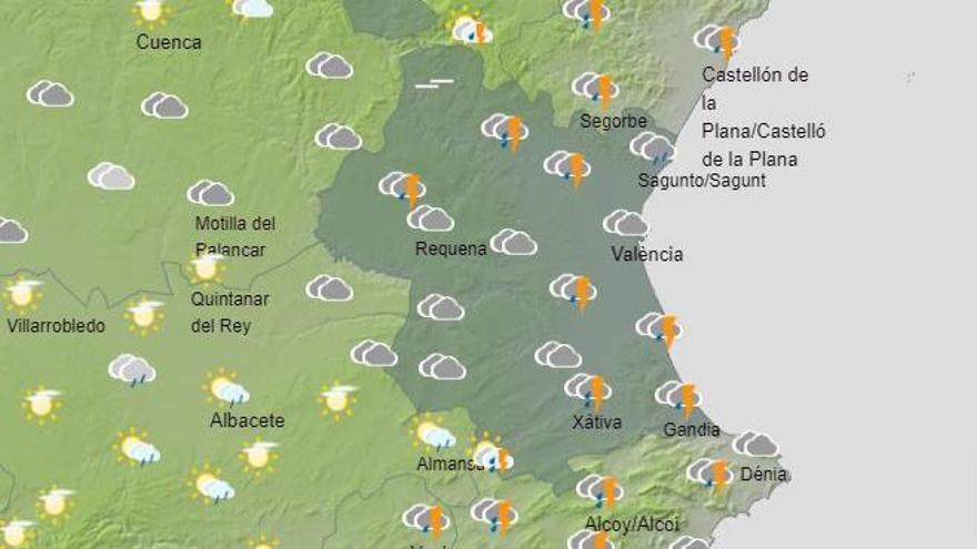 El tiempo en Valencia anuncia tormentas hoy incluso con granizo, según la previsión de la Aeme.t