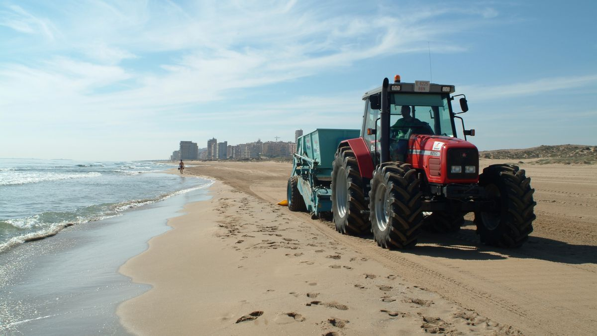 Cleaning the beaches using specific sand screening machines.
