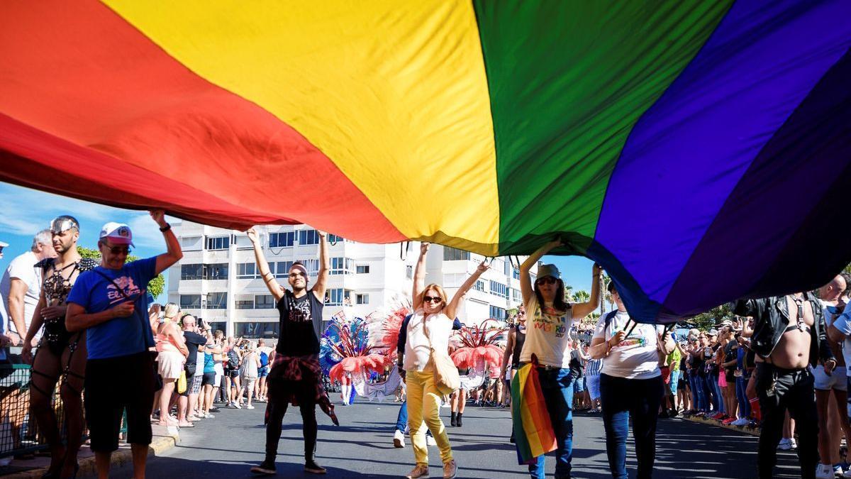 Detalle de una manifestación en favor de los derechos del colectivo LGTBI.