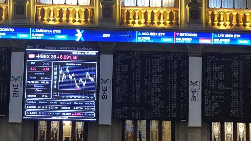El Ibex 35 sube el 0,43% y roza los 8.400 puntos