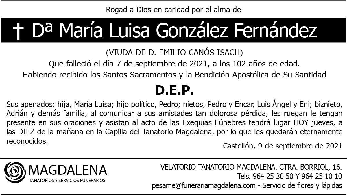 Dª María Luisa González Fernández