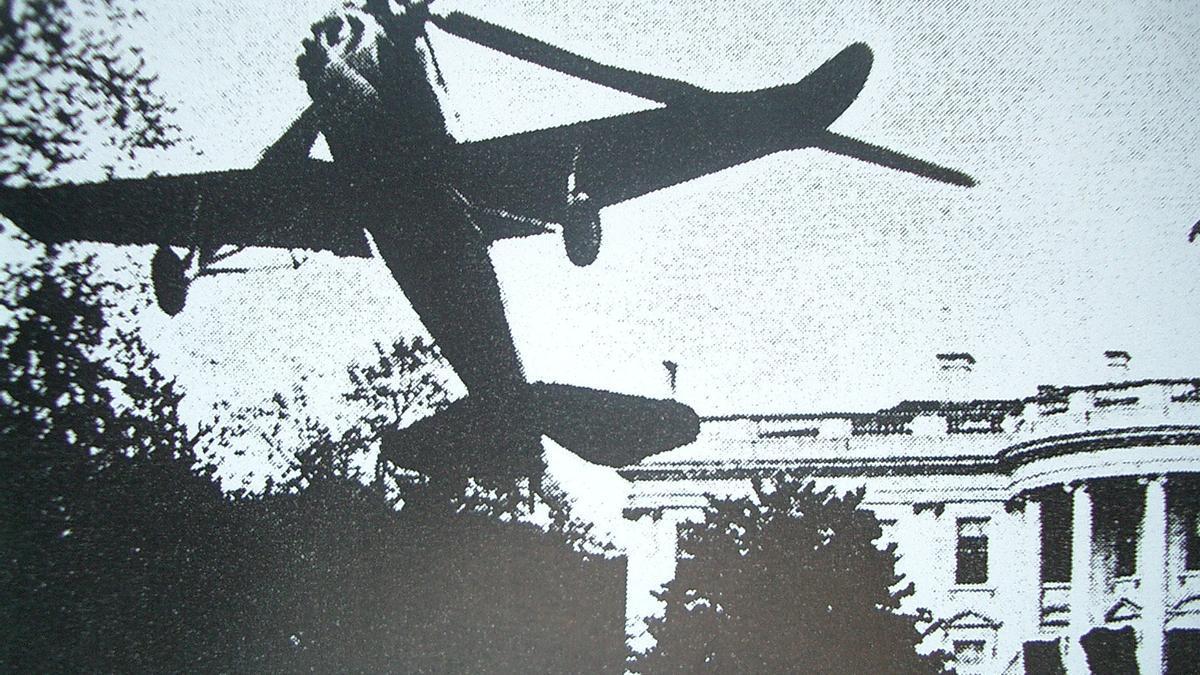 El autogiro de Juan de la Cierva, aterrizando en la Casa Blanca (Washington)