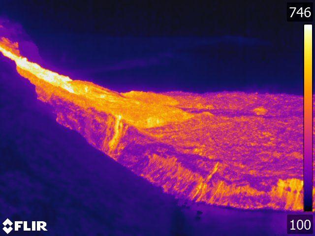 Las imágenes térmicas de la colada de lava