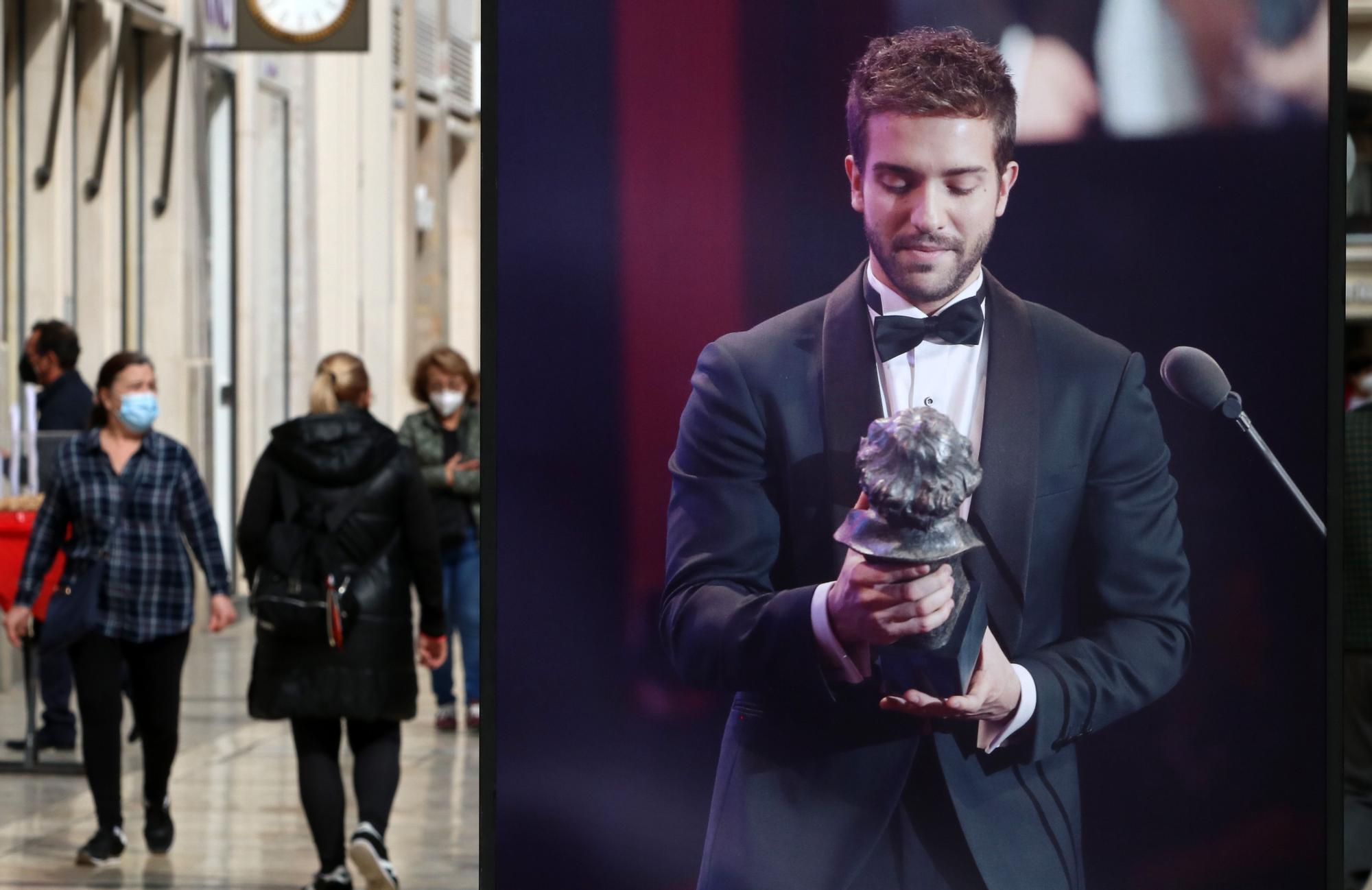 Exposición sobre los Premios Goya en la calle Larios de Málaga