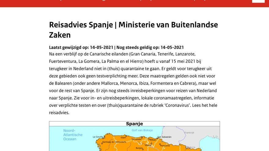 Países Bajos levanta desde ya las restricciones para viajar a Canarias