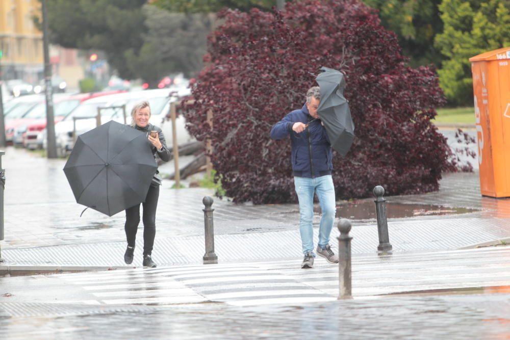 Temporal de lluvia y viento en Valencia